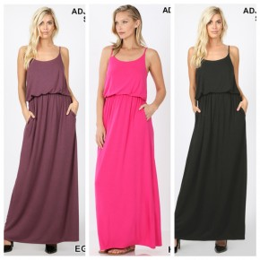 Zenana Solid Maxi Dresses