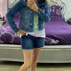 Cropped Denim Jacket Medium Wash
