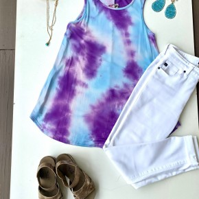 Blue and Purple Tie-Dye Tank