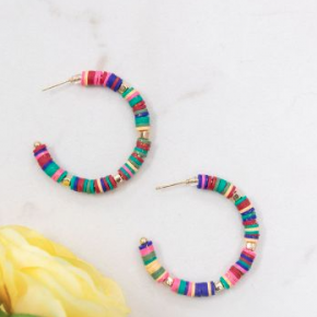 Rainbow Hoop Earrings with Gold Beads
