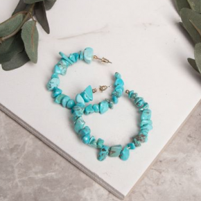 Natural Stone Hoop Earrings in Turquoise
