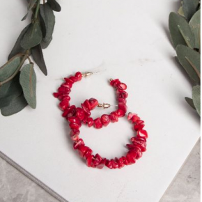 Red Natural Stone Hoop Earrings