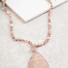 Rose Gold Metallic Tear Drop Pendant Necklace w/ Druzy Stone