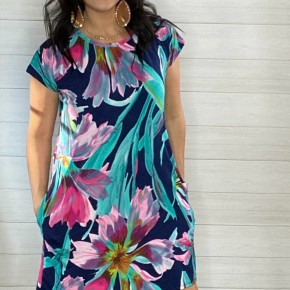 Watercolor Floral Design Midi Dress
