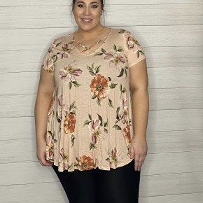 Blush Floral Criss-Cross Top