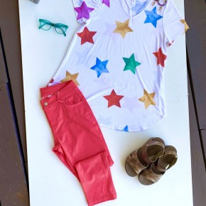 HoneyMe Rainbow Stars Top