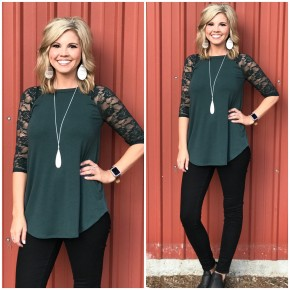 Fall Forest Lace Sleeve Top