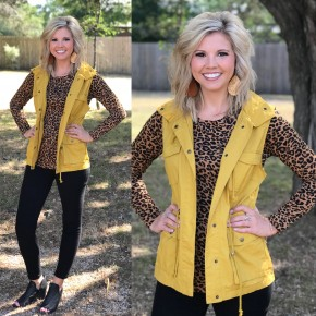 Mustard Utility Vest with Hood