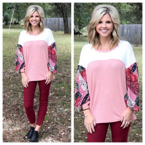 Pink Patchwork Bishop Sleeve Top