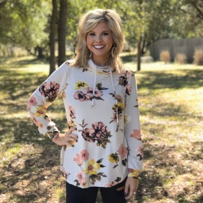 Ivory Floral Sweatshirt Top