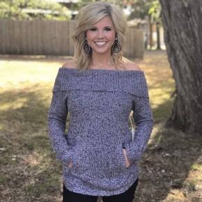 Off Shoulder Pocket Sweater