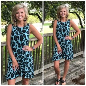 Teal Leopard Tank Dress