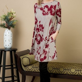 Floral Beige Swing Dress
