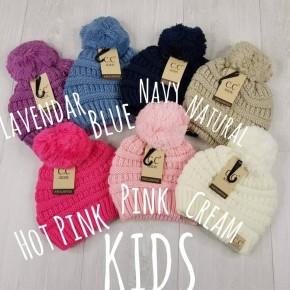 Kids Beanie w/ knit pom