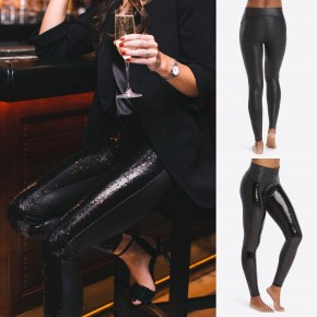 Spanx Faux Leather Sequin Leggings
