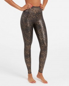 Spanx Faux Leather Leopard Leggings