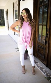 Comfy Vibes Tank- Pink