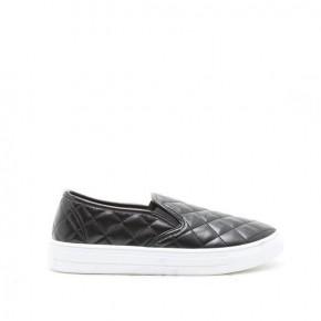 Black Quilted Slipon Sneaker