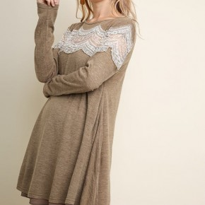 Mocha Long Sleeve Dress  with Floral Lace Detail