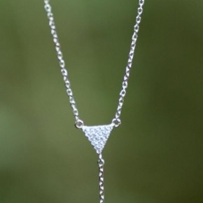 Pave Triangle Drop Necklace - Silver