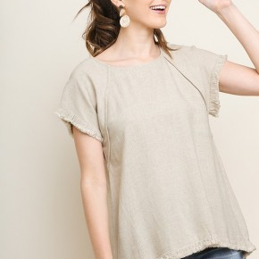 Linen Short Sleeve Pintuck High Low Top with Fringe Hem