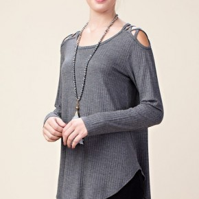Ribbed Knit Top with Shoulder Detail