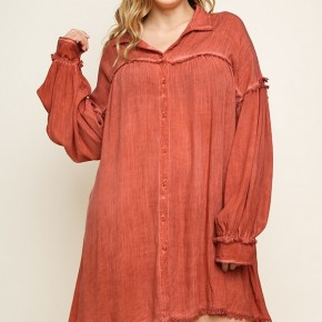 Garment Dyed Long Puff Sleeve Dress