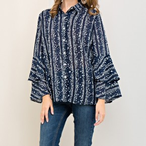 Blue Floral Print Button Down with Tiered Sleeves