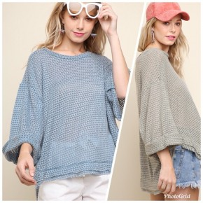 3/4 Rolled Sleeve Waffle Knit Top