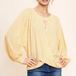 Striped Criss Cross Front Detail Top with Puff Sleeves