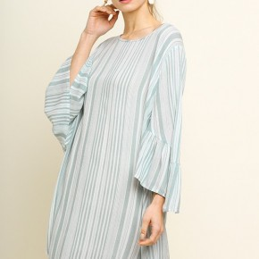 Striped Round Neck Bell Sleeve Casual Dress