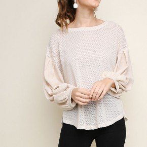 Long Puff Sleeve Waffle Knit Top with Scoop Hem and Side Slits