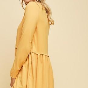 Mustard Long Sleeve High Low Peplum Top