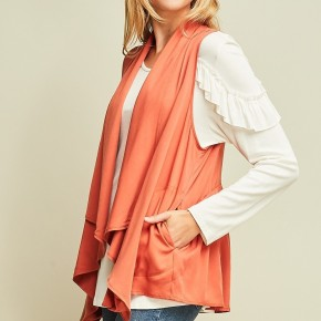 Draped Collar Vest with Gathered Back Detail