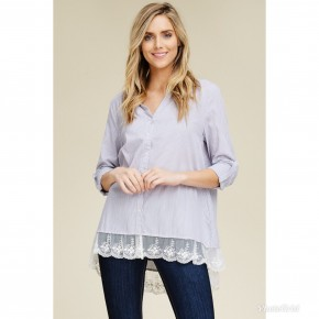 Grey Stripe Button Down Lace Trim Shirt