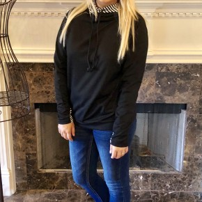 Double Hooded Black Stripe Sweatshirt