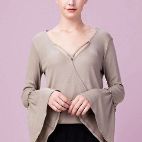 Pullover Top with Bell Sleeves and Crossover Front Detail