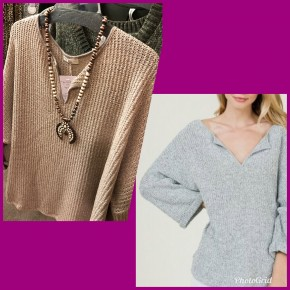 3/4 Sleeve loose knit sweater