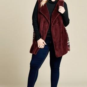 Burgundy Faux Fur Vest with Tribal Print Contrast