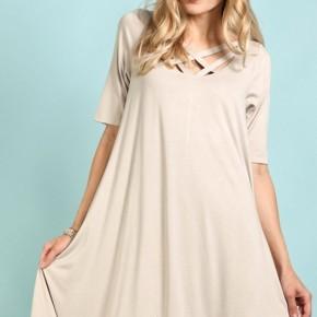 Cute!  Dress with Wide Criss-Cross Detail at front an Asymmetrical Hem.