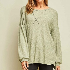 Wide Neck Lightweight Sweater with V-stitch
