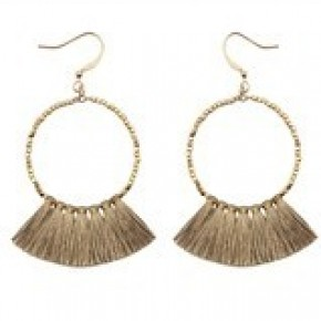 Gold Beaded Hoop Earring with Brown Fabric Tassels,