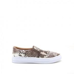 Brown/White Snake Print Slip on Sneaker