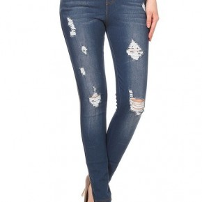 Distressed High Waist Blue Denim Jeggings
