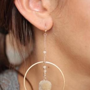 Caine Drop Hoop Earring with Fluffy Pom