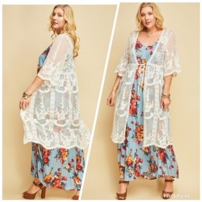 Embroidered Mesh Kimono with Scalloped Sleeves (DRESS NOT INCLUDED)