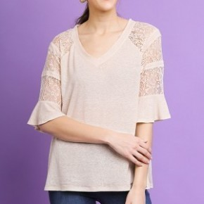 Sheer Lace Ruffle Sleeve VNeck Too