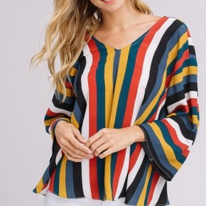 Multi color striped V-neck Top