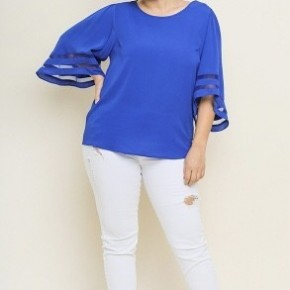 Cobalt Blue Bell Sleeve Top with Mesh Burnout Detail