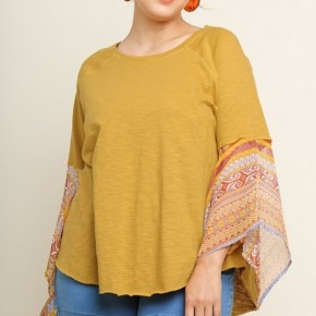 Mustard Mix Cotton Top with Sheer Aztec Print Angel Sleeves